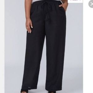 LANE BRYANT Linen Blend Wide Leg Pants Black 18/20